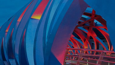 Blue and red bridge curvy architecture